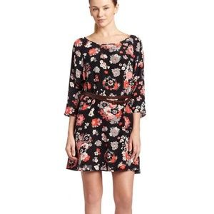 Joie Floral 3/4 Sleeve Silk Dress Size Small